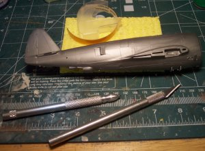 These are the basic tools I use for scribing panel lines. Monogram\'s P-47D is the subject of todays surgery.