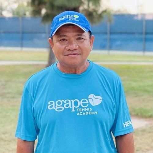 Tennis Coach Tu Tran at Agape Tennis Academy at the Fountain Valley Tennis Center