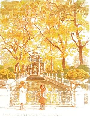 リュクサンブール公園の泉(水辺のスケッチ)→ジクレ・シルク→在庫なし