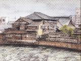 御笠川沿の下宿屋