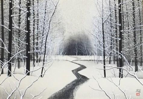 加山又造「雪」木版画