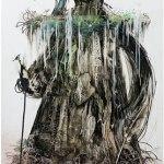 小島加奈子「女神 – Tree」(墨・アクリル 4号)