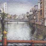 吉川幸作「博多川沿い風景(南新橋より)」