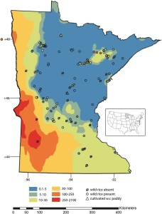 Sulfate concentrations in water bodies across Minnesota; circles indicate wild rice presence or absence. Courtesy MPCA