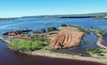 Crews used dredged materials to build up Interstate Island,  critical habitat for piping plover and one of only two nest sites in the Lake Superior watershed for common terns. Photo courtesy Minnesota DNR.