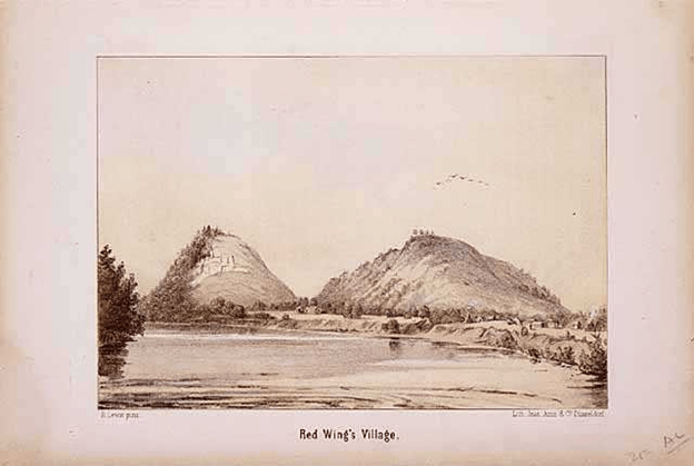 1855 Lithograph by Henry Lewis, Red Wing's Village. Photo: MHS