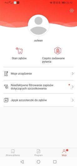 Aplikacja Oclean główne menu i ustawienia (2)