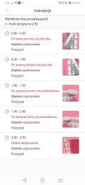 Aplikacja Oclean przykładowe instrukcje do programów czyszczenia (2)