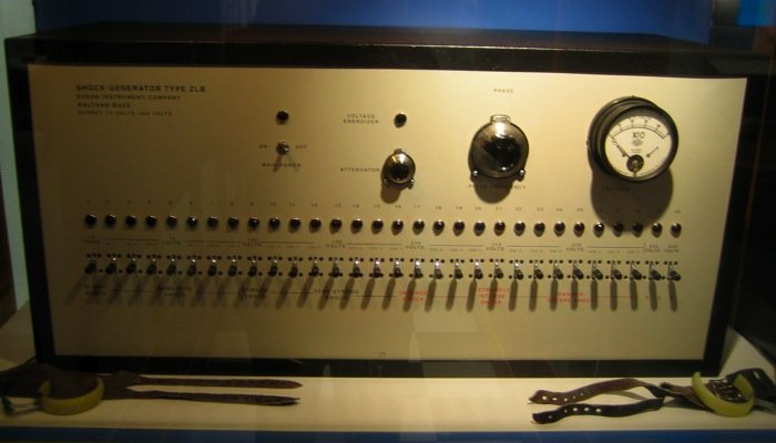 milgram's shocks box with its display of controls and - it must be said - warnings
