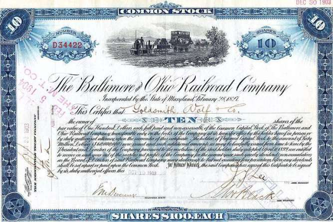 Stock certificate of the Baltimore and Ohio Railroad Company, 1903. Collection of JGHowes)