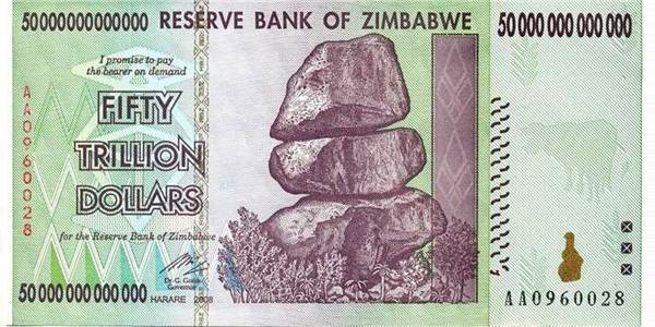 Hyperinflation: Zimbabwe, 50 trillion dollars, 2009
