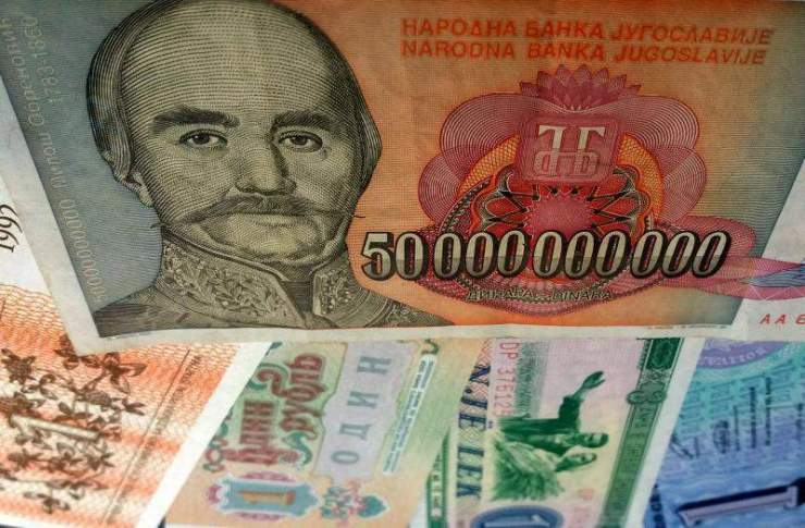 Mixed European banknotes.