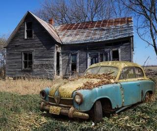 Abandoned house and car.
