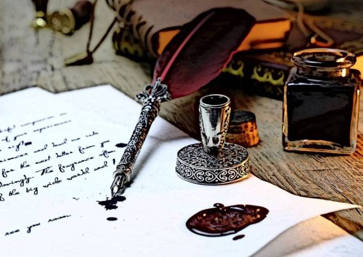 When Blogging SEO Was Unknown. Old Writing Equipment, Feather, Ink, Paper.
