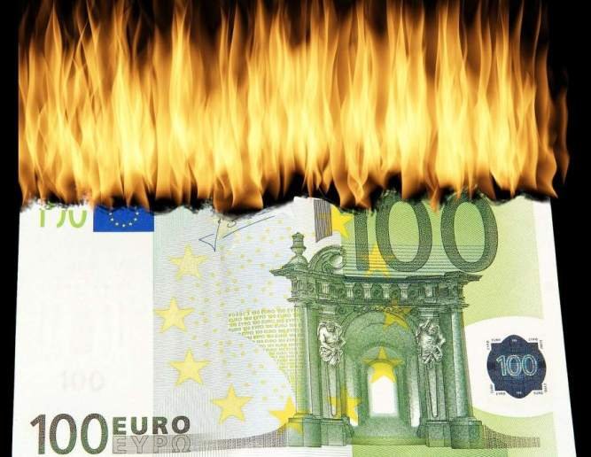 Picture: European banknote burning. But the euro got much stronger last year.