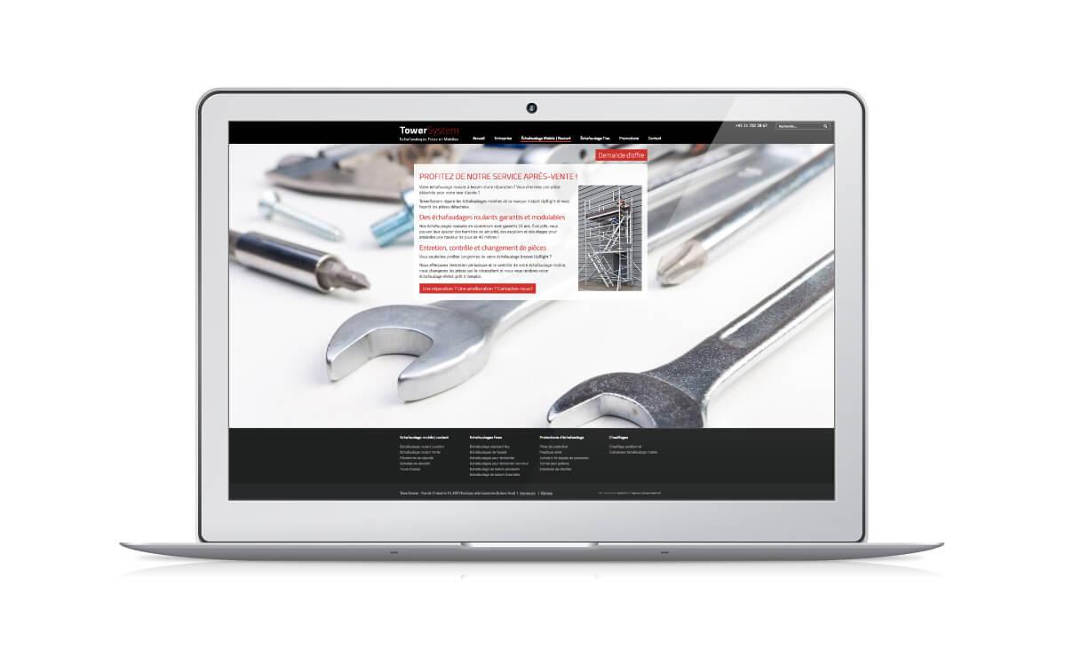 Site internet pour l'entreprise d'échafaudage Towersystem