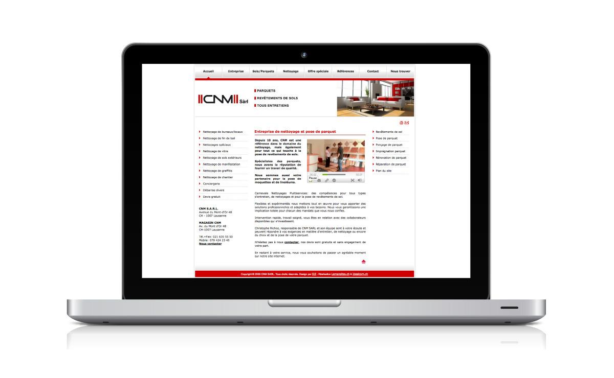 Site internet de l'entreprise de pose de parquets CNM Sàrl à Lausanne (Vaud)