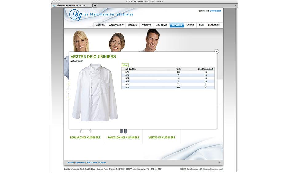Choix et sélection des produits sur le site internet
