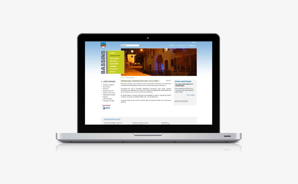 Création du site internet de la Commune de Bassins