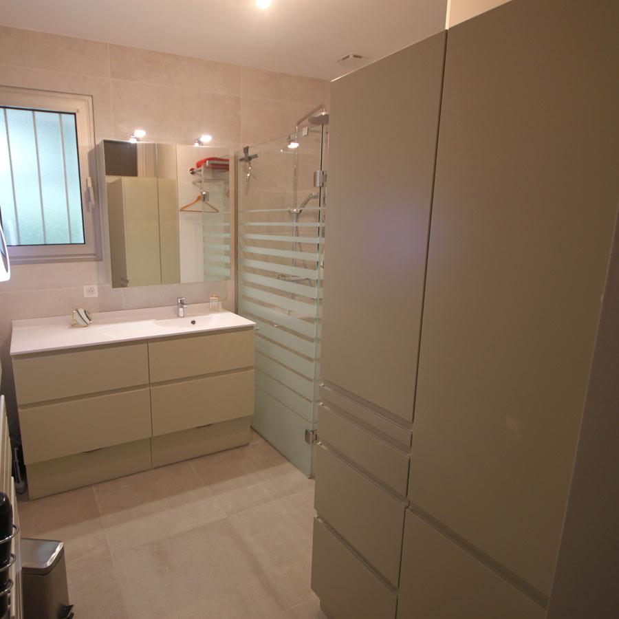 meuble salle de bain avec panier
