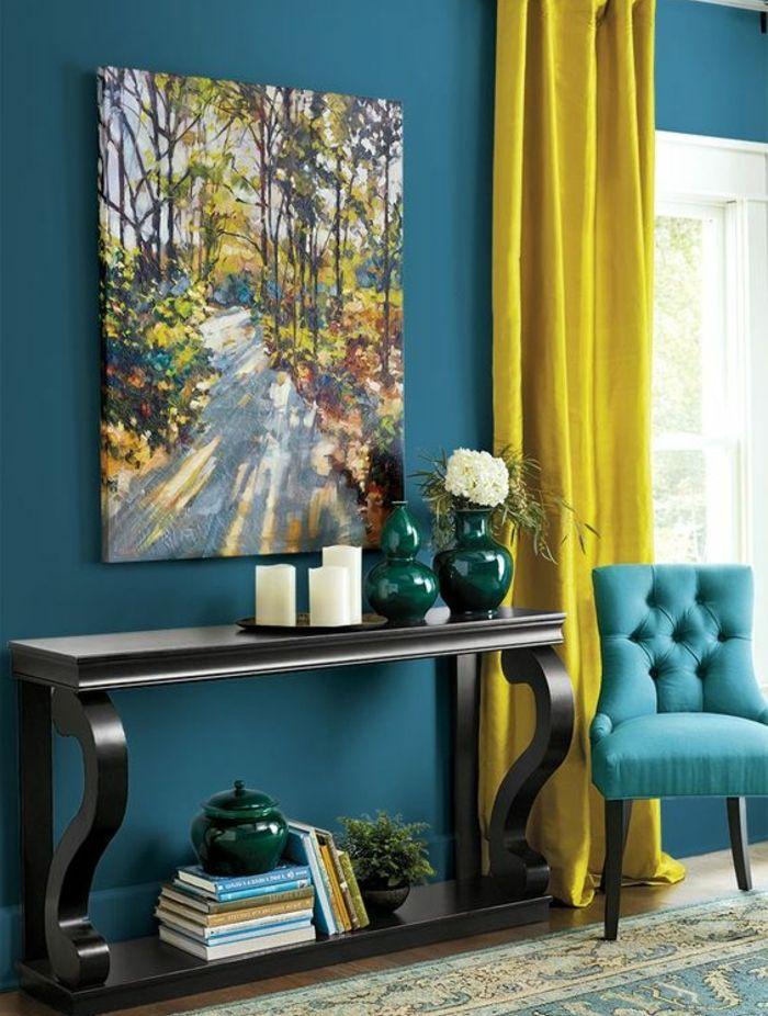 deco salon deco bleu canard et jaune