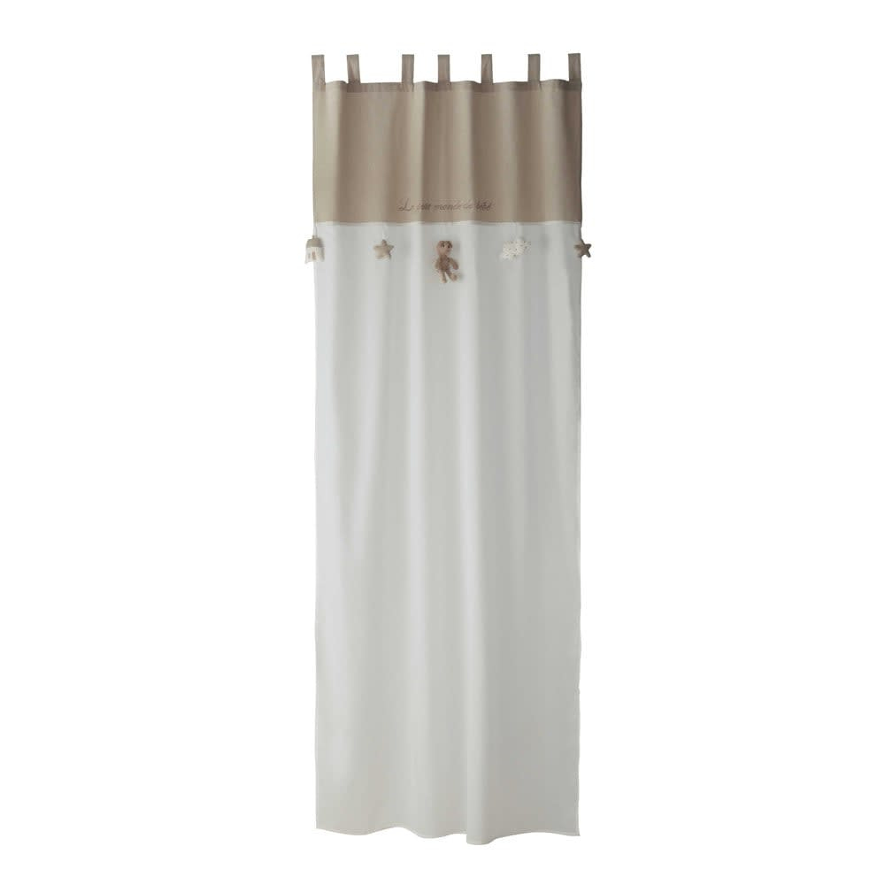 coton blanc beige 110x250 ourson