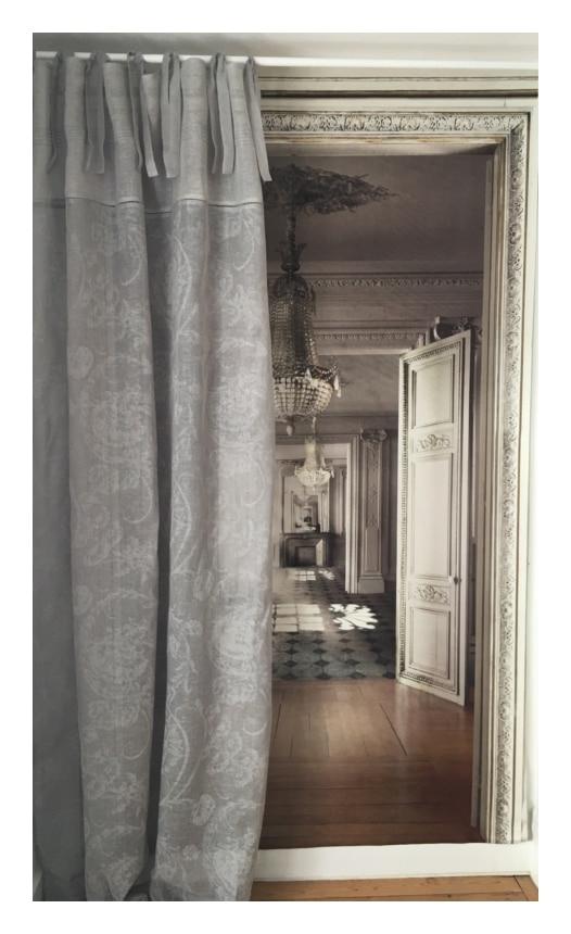 rideau lin gris modele mozart 135 x 300