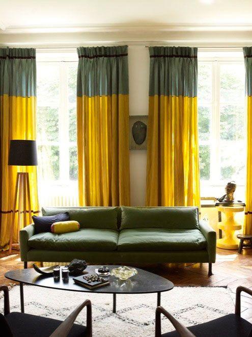 concernant rideau scandinave jaune