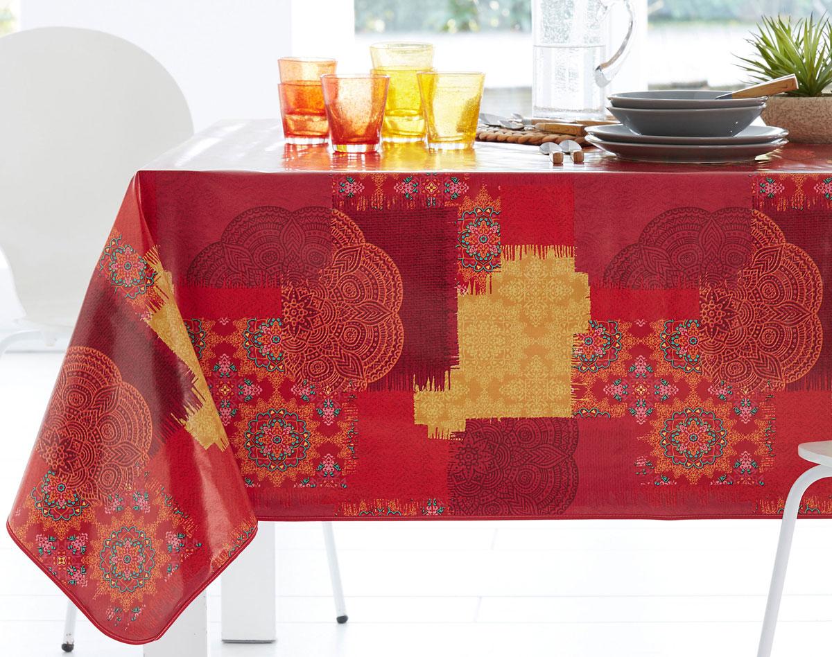 toile ciree rouge motif indien