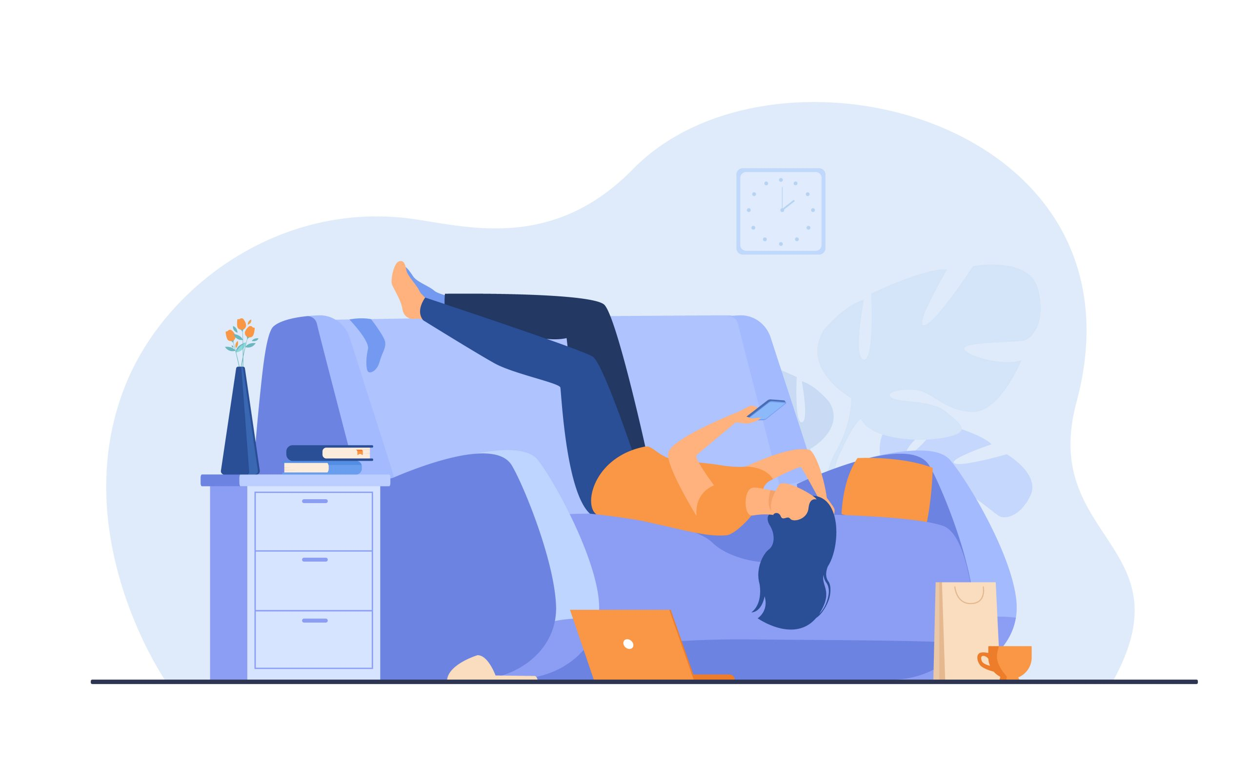 Lazy depressed woman resting in couch with smartphone after making mess at home. Vector illustration for depression, addiction, apathy, fatigue concept