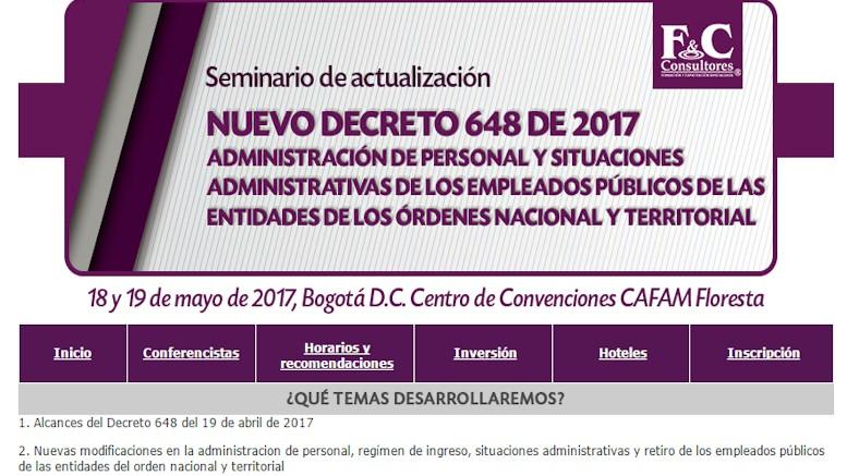 Cambios trascendentales e inmediatos en la administración de personal de empleados públicos. Trae el nuevo Decreto 648 de 2017