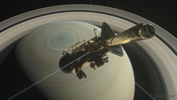Ilustración de la nave Cassini de la NASA sobre el hemisferio norte de Saturno, dirigiéndose hacia su primera inmersión entre el planeta y sus anillos en abril de 2017. / NASA/JPL-Caltech