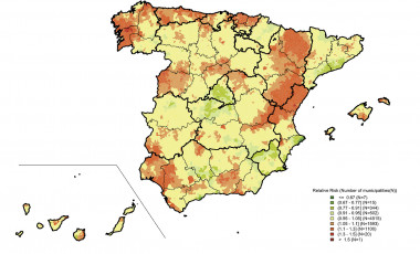 Mortalidad por cáncer de próstata en España (distribución por municipios de los riesgos relativos de muerte en hombres entre 2010 y 2014). En rojo, las zonas más afectadas; y en verde, las que menos. / L. Rodriguez-Sanchez, B. Perez-Gomez et al. / <em data-recalc-dims=