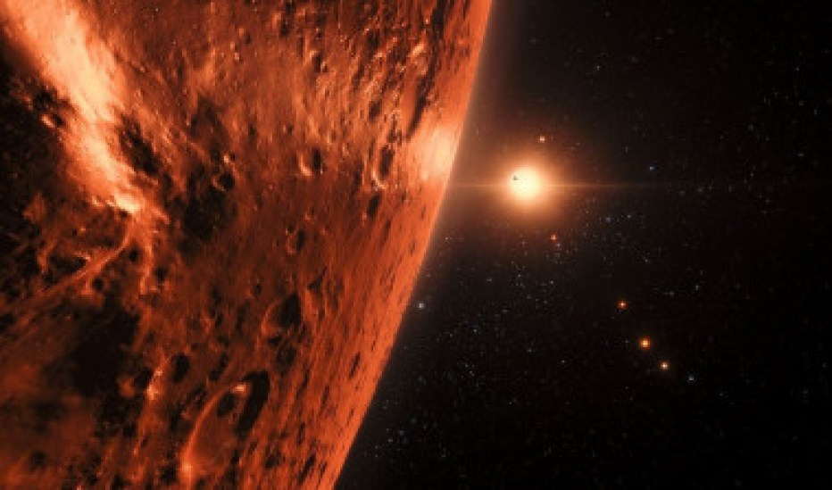 <p>Ilustración de la estrella enana TRAPPIST-1 y sus siete planetas vistos desde uno de ellos. / ESO/M. Kornmesser/spaceengine.org</p>