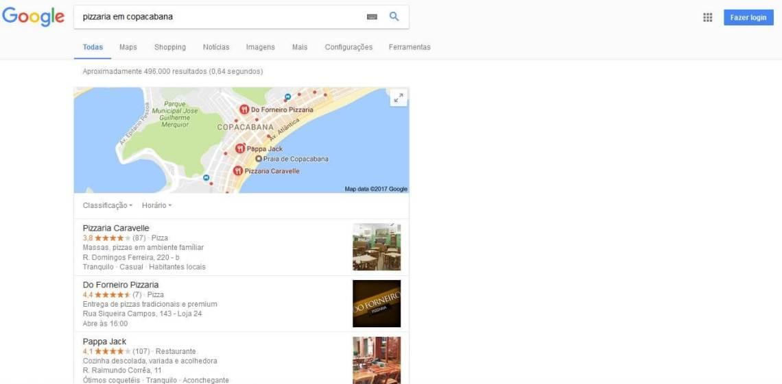 Empresas cadastradas no Google Meu Negócio