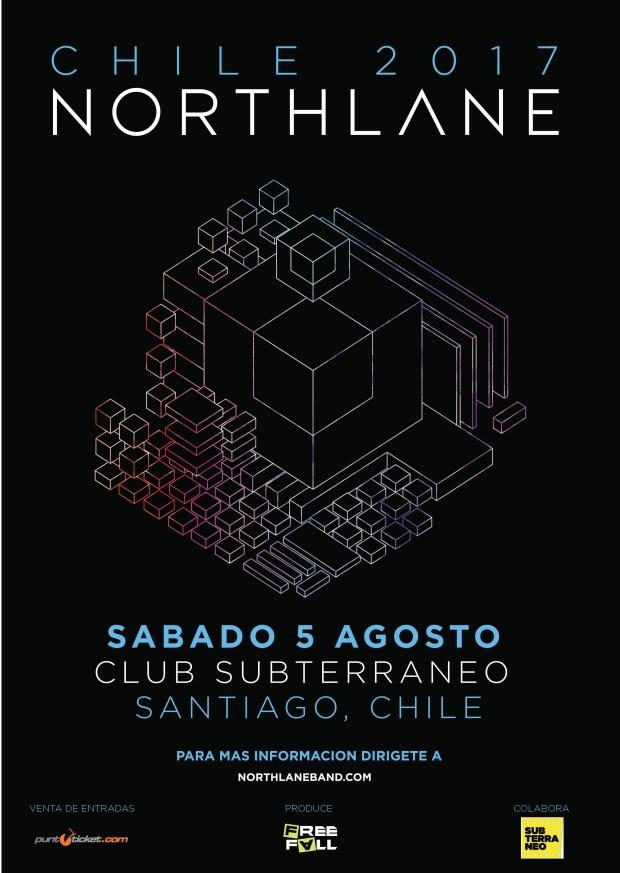 Afiche oficial Northlane en Chile, agosto 2017
