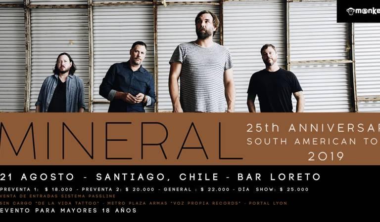 Últimas entradas para Mineral y su primer concierto en Chile: 21 de agosto