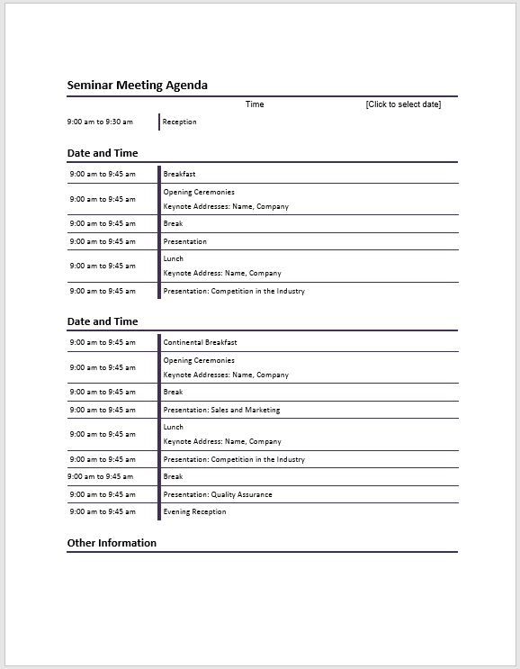 Seminar Meeting Agenda Template