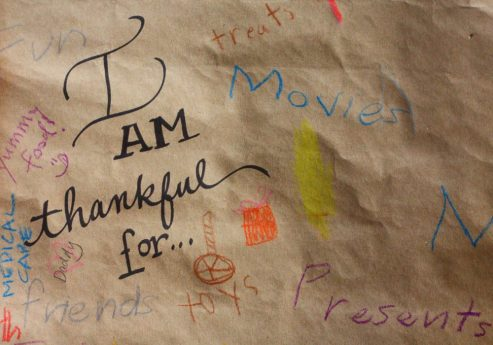 I am thankful for... craft paper table cover