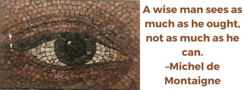 A wise man sees as much as he ought, not as much as he can. –Michel de Montaigne
