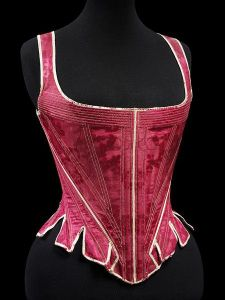 English Stays (1770-1790), made from red silk damask, Victoria and Albert Museum.