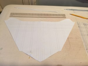 Front with boning channels drawn in - ready for (annoying) sewing stint.