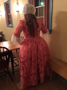 The back of Pink Thing, in the Tavern at DLM. My curls have fallen out and I think I need to deflate this bum pad just a tad.