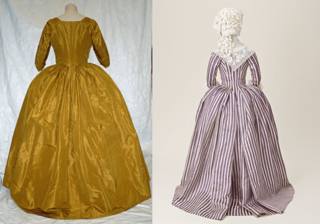 Same yellow gown on the left compared to a gown with a separate bodice and skirt. Hard to tell!