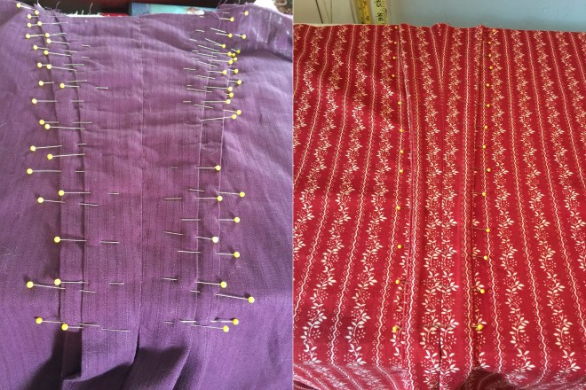 Both purple and red gowns with all four pleats pinned down. The pleats on the red dress are VERY close together - only about 1/8 inch apart. This is a more narrow pleating style from the third quarter of the 18th century.