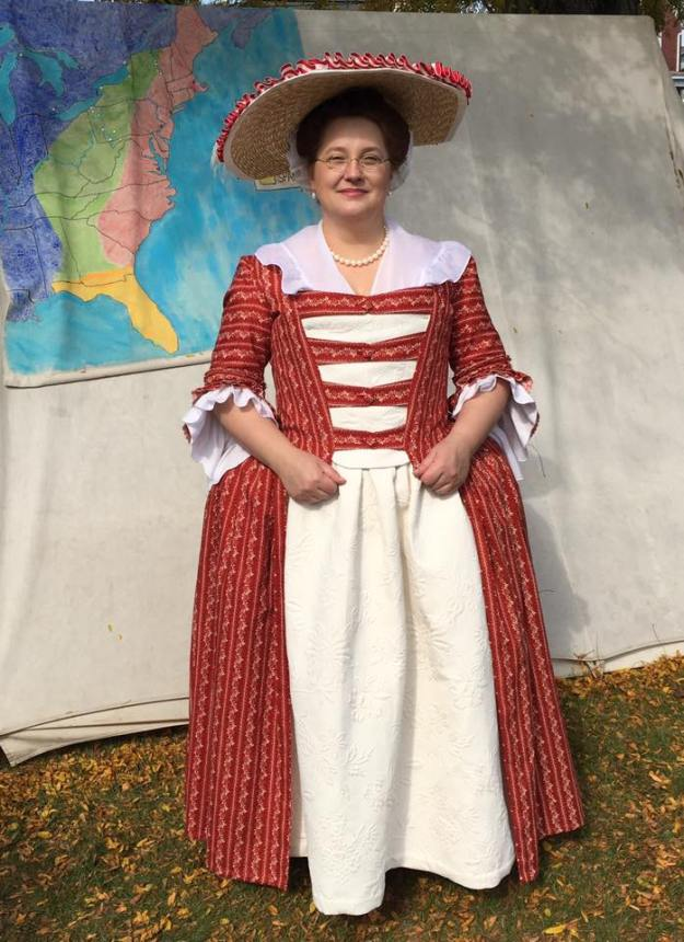 Red Print 1760's Gown
