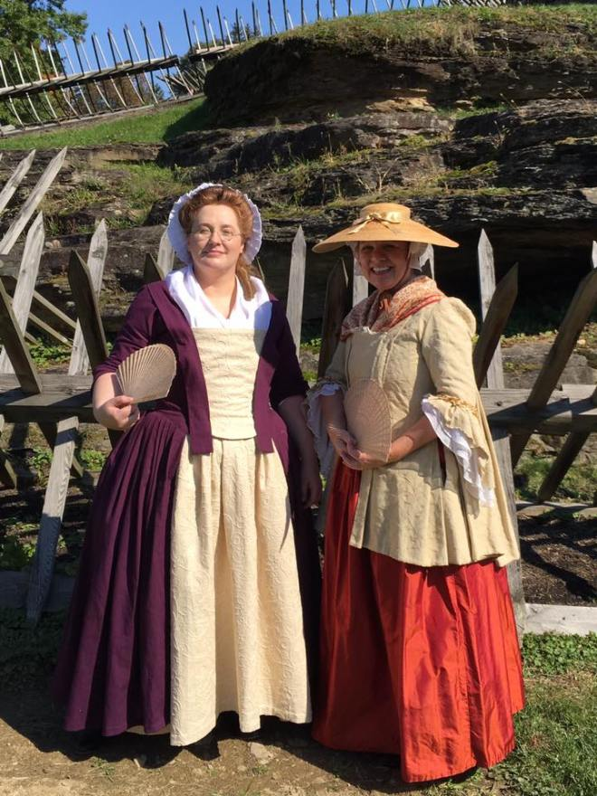 Purple Fustian Gown at Ft Ligonier Days with my good friend Sally (in a silk sacque jacket).