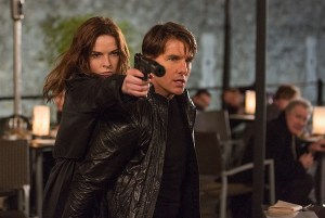 """STRICTLY EMBARGOED: 8:00am PST March 22, 2015 Rebecca Ferguson and Tom Cruise in a scene from the motion picture """"Mission Impossible 5."""" Credit: Chiabella James, Paramount Pictures [Via MerlinFTP Drop]"""
