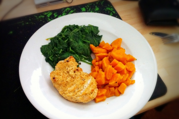 Baked Chicken in a Greek Yoghurt, Chilli and Lime Marinade with Sweet Potatoes and Spinach