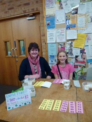 Me and Angela selling raffle tickets